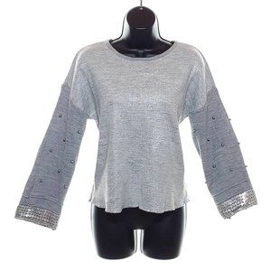 NWT BUTELLA Silver Sweater Beaded Drop Shoulder